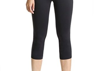 Baleaf Women's Yoga Capri Legging Inner Pocket Non See-through Black Size XS