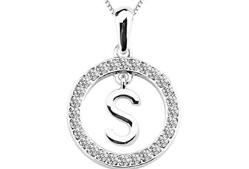 Rhodium Plated Circle Alphabet Initial Letter Necklace for Women Made with Swarovski Elements, 18″ (Alphabet Initial Letter S)