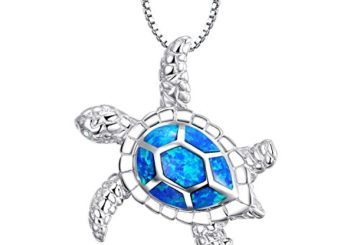 Victoria Jewelry [Health and Longevity] 925 Sterling Silver Created Blue Opal Sea Turtle Pendant Necklace 18″, Birthstone Jewelry for Women(Blue)