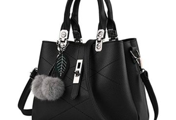 Mn&Sue Stylish Women Pu Leather Vertical Utility Top Handle Handbag Business Briefcase Office Lady Purse (Black)