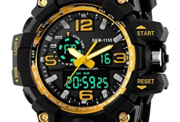 SNE Men's Analog Digital Multifunctional Sport Dual Time Wrist Watch Gold SK1155B