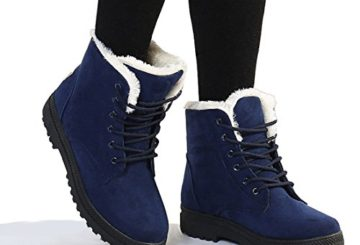 Susanny Suede Flat Platform Sneaker Shoes Plus Velvet Winter Women's Lace Up Blue Cotton Snow Boots 8.5 B (M) US