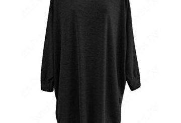 Clearance Sale! Autumn Blouse,Canserin Women Loose Hem Batwing Long T-Shirt Blouse Dress (XL, Black)