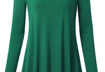 Timeson Women's V-Neck Long Sleeve Shirt Flowy A-Line Casual Tunic Tops (Large, Green)