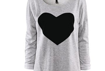 Gillberry Women Cotton Love Heart Printed Long Sleeved Round Neck T-Shirt (XL, Gray)