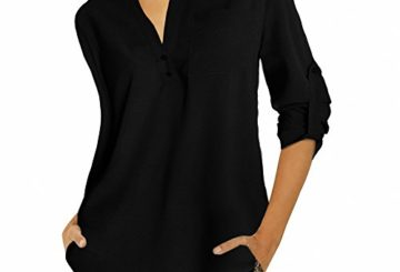 vanberfia Women's Casual V Neck Blouses and Tops Long Sleeve Shirt (XL, 6281)