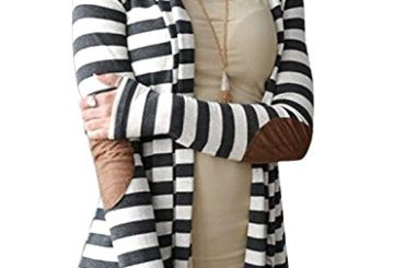 OURS Women's Elbow Patch Long Sleeve Shawl Collar Striped Open Front Cardigan Sweater (XXL, Gray and white)